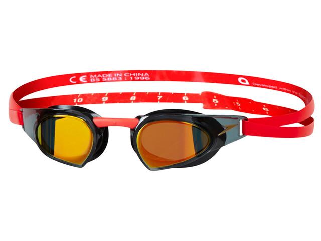 speedo Fastskin Prime Mirror Okulary pływackie czerwony/czarny